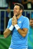 Mästare Juan Martin Del Porto för storslagen Slam av Argentina efter seger på kvartsfinalen för singlar för man` s av Rio de Jane Fotografering för Bildbyråer