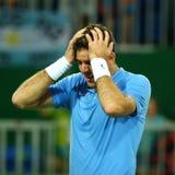 Mästare Juan Martin Del Porto för storslagen Slam av Argentina efter seger på kvartsfinalen för singlar för man` s av Rio de Jane Arkivbild