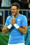 Mästare Juan Martin Del Porto för storslagen Slam av Argentina efter seger på kvartsfinalen för singlar för man` s av Rio de Jane Royaltyfria Foton