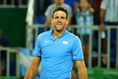 Mästare Juan Martin Del Porto för storslagen Slam av Argentina efter seger på kvartsfinalen för singlar för man` s av Rio de Jane Arkivfoton