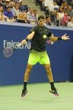 Mästare Juan Martin Del Porto för storslagen Slam av Argentina i handling under hans match för runda 2 för US Open 2016 Royaltyfri Bild