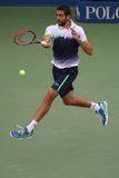 Mästare Marin Cilic för US Open 2014 under finalmatch mot Kei Nishikori på Billie Jean King National Tennis Center Royaltyfria Bilder