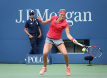 Mästare Petra Kvitova för storslagen Slam under den första runda matchen på US Open 2013 mot Misaki Doi på Billie Jean King Nation Royaltyfria Bilder