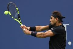Mästare Rafael Nadal för storslagen Slam av Spanien i handling under hans US Openfinalmatch 2017 Royaltyfria Foton