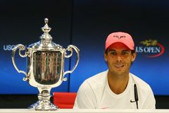 Mästare Rafael Nadal för US Open 2017 av Spanien under presskonferens efter hans finalmatchseger mot Kevin Andersen Arkivbilder