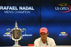 Mästare Rafael Nadal för US Open 2017 av Spanien under presskonferens efter hans finalmatchseger mot Kevin Andersen Arkivbild