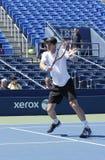 Mästaren Andy Murray för den storslagna slamen öva för US Open 2014 på Billie Jean King National Tennis Center Royaltyfri Foto