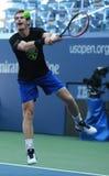 Mästaren Andy Murray för den storslagna slamen av Storbritannien öva för US Open 2016 Arkivbild