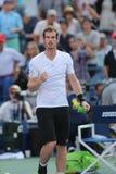 Mästaren Andy Murray för den storslagna slamen firar seger efter den fjärde runda matchen på US Open 2014 Arkivfoto