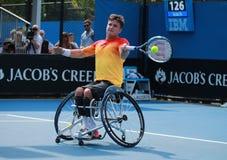 Mästaren Gordon Reid för den storslagna slamen av Storbritannien i handling under australier öppnar rullstolsingelfinalmatchen 20 Arkivbilder