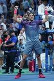 Mästaren Juan Martin Del Porto för den storslagna slamen av Argentina firar seger efter hans US Openkvartsfinalmatch 2017 Arkivbild