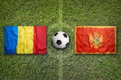 29 2011 mästerskap europeiska luxembourg marscherar neamtpiatraen som kvalificerar romania rund uefa vs Montenegro flaggor på fot Royaltyfri Bild
