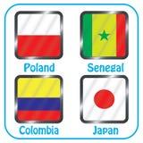 mästerskap Fotboll Grafiska flaggor Gruppen H royaltyfri illustrationer