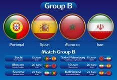 Mästerskap Ryssland 2018 för fotboll för matchgrupp B royaltyfri illustrationer