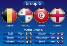Mästerskap Ryssland 2018 för fotboll för matchgruppG vektor illustrationer