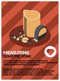 Mäta den isometriska affischen för färg Arkivbild