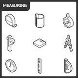 Mäta isometriska symboler för översikt Arkivfoto