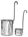 Mäta koppen, kopp, koppar, metall, uppsättning, mått, tappning, retro, antikt som inristar, illustration som drar Vektor Illustrationer