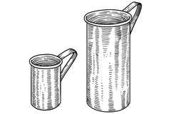 Mäta koppillustrationen, teckning, gravyr, linje konst Stock Illustrationer