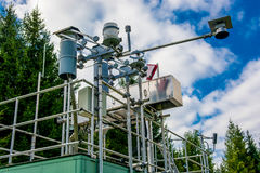 Mäta stationen för luftkvalitet och väder Arkivbild