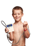 mätande trycktonometer för pojke Fotografering för Bildbyråer