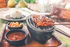Mättar fega satay för indones eller Ayam Traditionell mat för indonesisk balinese Bali ö arkivfoto
