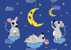 Mäuse bewundern den Mond in Form von Käse Nahtlose Illustration des Vektors, ENV 8 Stockbild