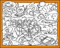 Mäuse-, Käse-, Katze-und Blockierlabyrinth Lizenzfreies Stockfoto