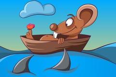 Mäuse-, Schmetterlings-, Boots- und Seeillustration Lizenzfreie Stockbilder