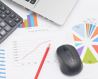 Mäusecomputer und Finanzdiagramme Stockfotos