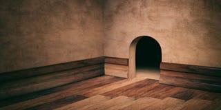Mäusehausloch auf vergipsten Wand, Bretterboden und dem Umsäumen, Kopienraum Abbildung 3D Lizenzfreies Stockbild