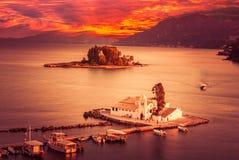 Mäuseinsel, Korfu, Griechenland Stockbild