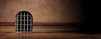 Mäuselochgefängnis mit Stahlstangen, Fahne, Kopienraum Abbildung 3D Stockfoto