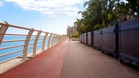 Młoda dama chodzi blisko morza wzdłuż linii brzegowej zasadzającej z palmami, zamożny kurort fotografia royalty free
