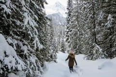 Młoda kobieta snowshoeing przez lasów Wyspa jezioro w Fernie, kolumbia brytyjska, Kanada Majestatyczny zimy tło zdjęcia royalty free