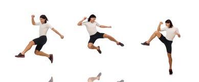 Młody człowiek robi sportom odizolowywającym na bielu obrazy royalty free