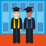 Młodzi ucznie kończyli studia różnorodność charaktery royalty ilustracja
