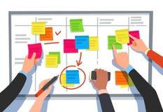 Młyn deska Zadanie lista, planujący drużynowych zadania i współpracy planu flowchart Biznesowy obieg planu kreskówki wektor ilustracja wektor