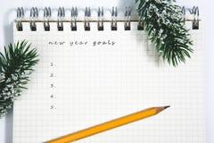 Mål, anteckningsboken och den gula blyertspennan med barrträdet förgrena sig Arkivfoton