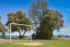 Mål av fotboll på sanden Arkivbild