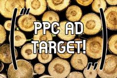 Mål för annons för handskrifttextPpc Begrepp som betyder lön per klicken som annonserar den träonline-aktionen för marknadsföring arkivfoton