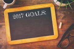 Mål för bästa sikt 2017 listar skriftligt på svart tavla Arkivfoto