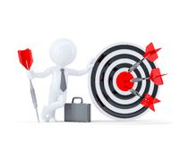 Mål för bågskytte för affärsmanhåll stort. Arkivbild