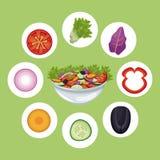 Mål för bunkesalladgrönsaker bantar vektor illustrationer