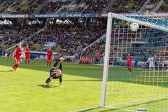 Mål för den Karlsruher sportklubban KSC mot Sportfreunde Lotte Royaltyfri Fotografi