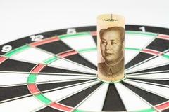Mål för handelkrig och tariff med Kina, viktig import för landsvärldsekonomi och exporthandelspolitik, kinesisk Yuan bankrulle royaltyfri fotografi