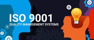 Mål för lista för kontroll för uppgift för överensstämmelse för attestering för system för kvalitets- ledning för ISO 9001 standa stock illustrationer