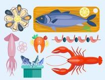 Mål för mat för hav för ny för skaldjurlägenhetvektor för illustration för fisk gourmet- läcker matlagning för restaurang gourmet royaltyfri illustrationer