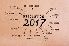Mål för upplösning 2017 för nytt år som är skriftliga på papp Royaltyfri Fotografi