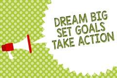 Mål för uppsättning för dröm för ordhandstiltext tar stora handling Affärsidé för att motivationen ska följa din dröminspirationm stock illustrationer